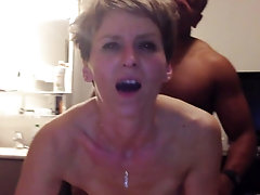 Short haired mature cougar takes it from behind super hard