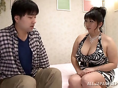 Good looking Japanese MILF swallows a tiny hairy fuck stick