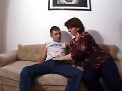 Chubby redhead mom gladly rides young dude's face and dick
