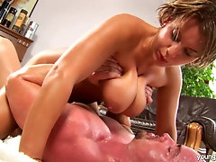 Short haired milf Zora bounces on hung bald fuck boy