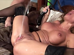 Busty mature squirter got her cunt and ass deeply drilled