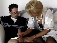 Young stud gets seduced and sucked off by a milf