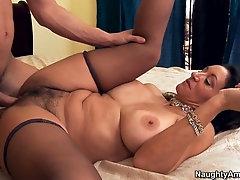 stud young brunette Mature sucks
